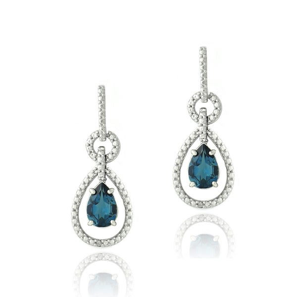 Glitzy Rocks Silver London Blue Topaz and Diamond Accent Pear Earrings