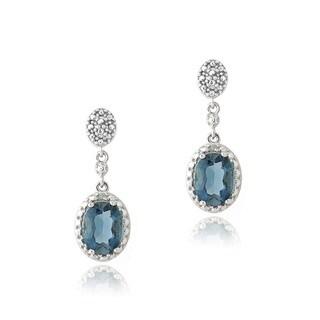 Glitzy Rocks Silver London Blue Topaz and Diamond Accent Oval Earrings