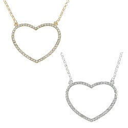 Alexa Starr Goldtone Rhinestone Pave Open Heart Necklace