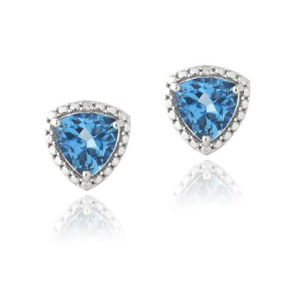 Glitzy Rocks Silver Trillion London Blue Topaz and Diamond Earrings