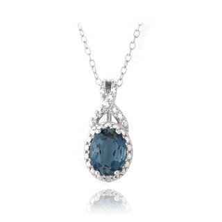 Glitzy Rocks Silver London Blue Topaz and Diamond Accent Oval Necklace