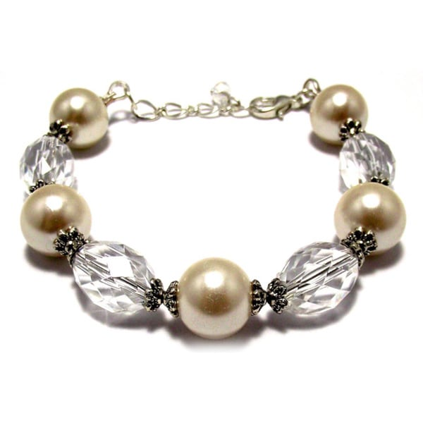 Silverplated Off White Glass Pearl Wedding Jewelry Set