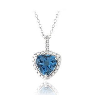 Glitzy Rocks Silver Trillion London Blue Topaz and Diamond Necklace