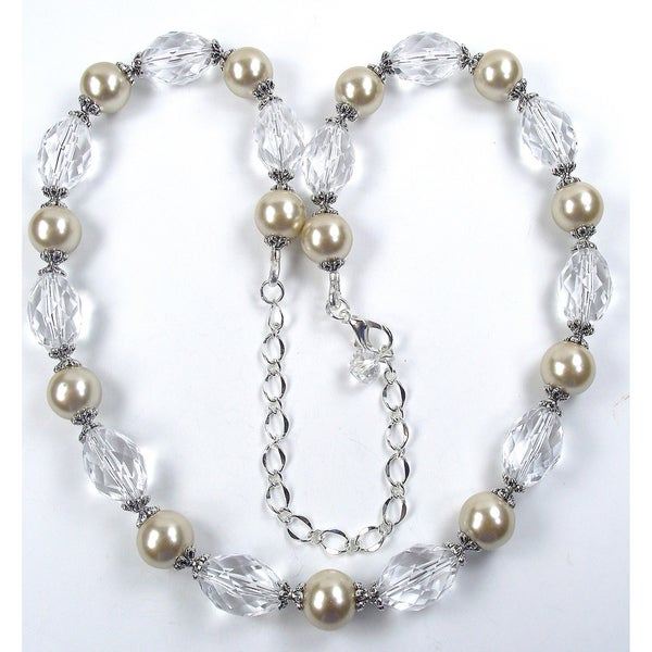 Silverplated Champagne Glass Pearl Wedding Jewelry Set