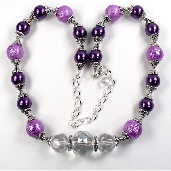 Silverplated Lilac Bumpy Glass Pearl Wedding Jewelry Set