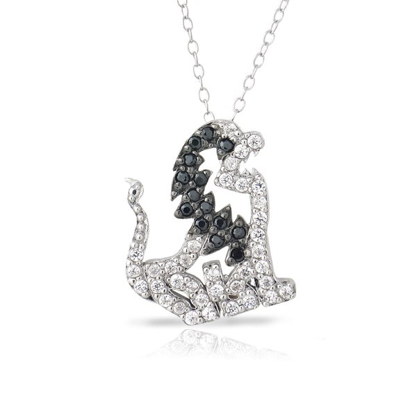 Icz Stonez Sterling Silver Black and White Cubic Zirconia Lion Necklace. Opens flyout.
