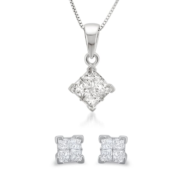 Montebello 14k White Gold 1/2ct TDW Princess Diamond Jewelry Set (G-H, I1-I2)