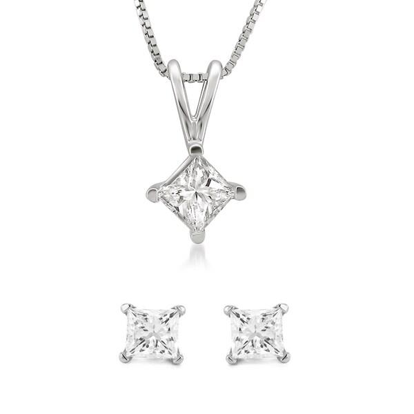Montebello 14k White Gold 1/2 or 1ct TDW Diamond Jewelry Set (G-H, I1-I2)