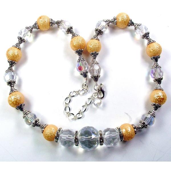 Silverplated Gold Bumpy Glass Pearls Wedding Jewelry Set
