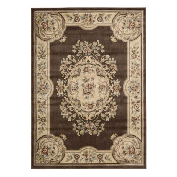 Aubusson Collection Brown Rug (5'3 x 7'5)