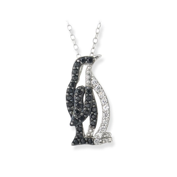 Icz Stonez Sterling Silver Black and White Cubic Zirconia Penguin Necklace