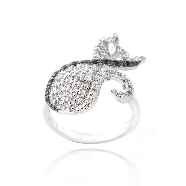 Icz Stonez Silvertone Black and White Cubic Zirconia Cat Ring