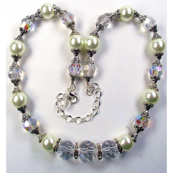 Silverplated Ivory Pearl Wedding Jewelry Set