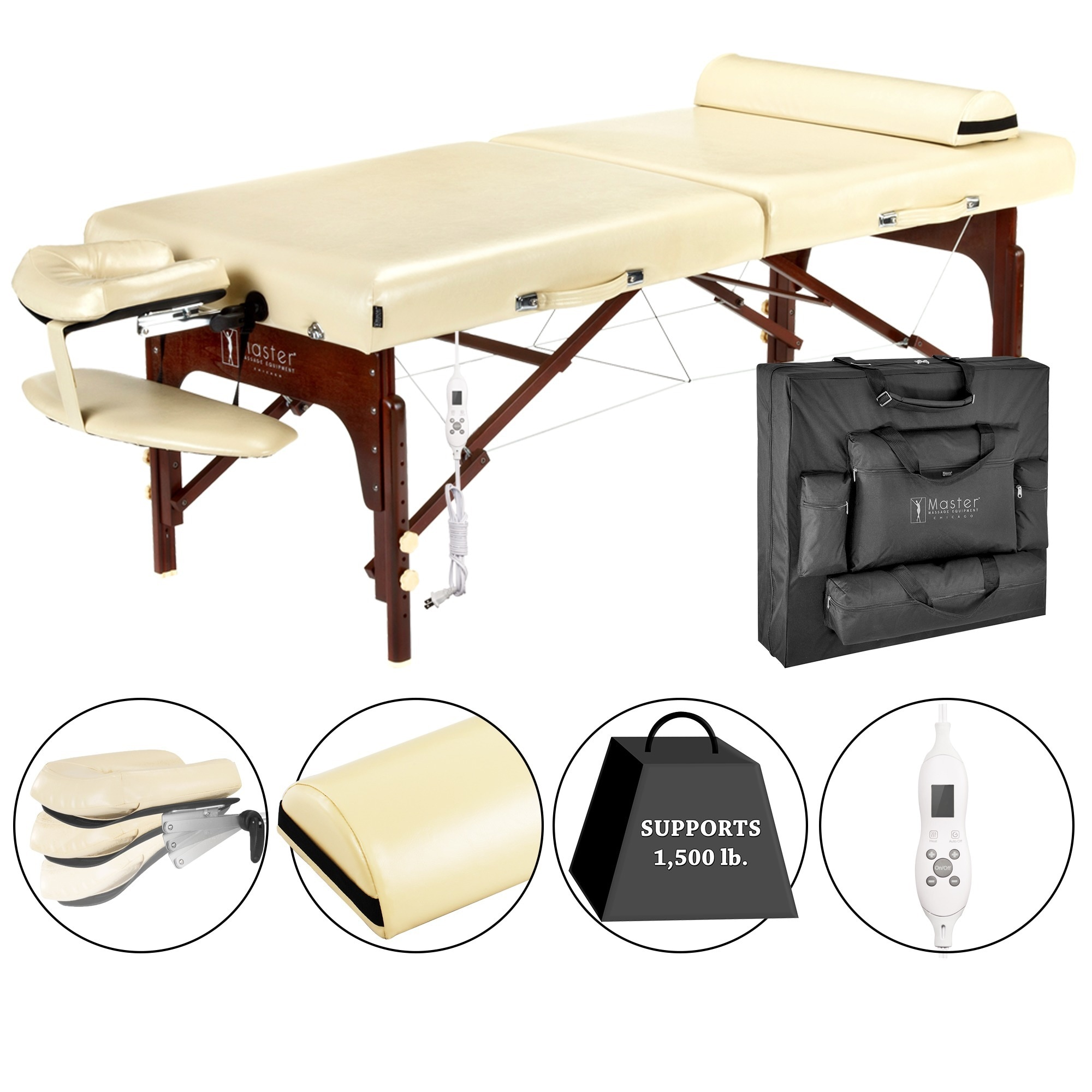 Master Massage 30-inch Magnolia Therma-Top LX Table Packa...