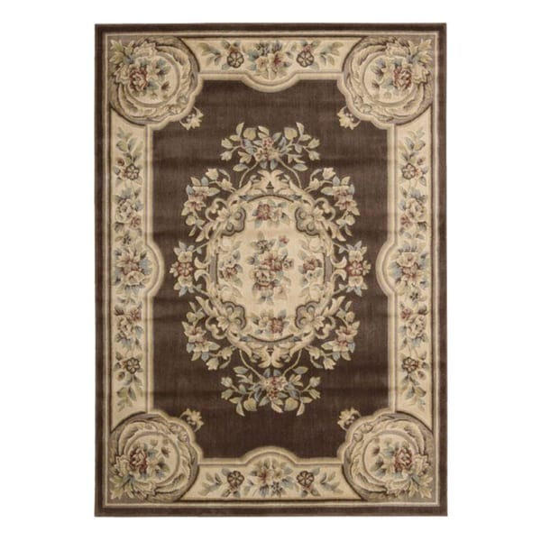 Aubusson Collection Brown Rug (7'9 x 9'9)