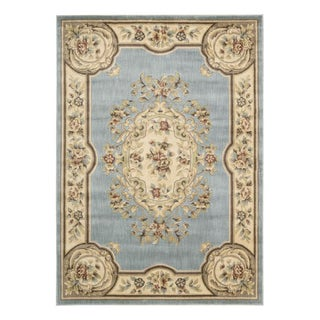 Aubusson Collection Light Blue Rug (5'3 x 7'5)
