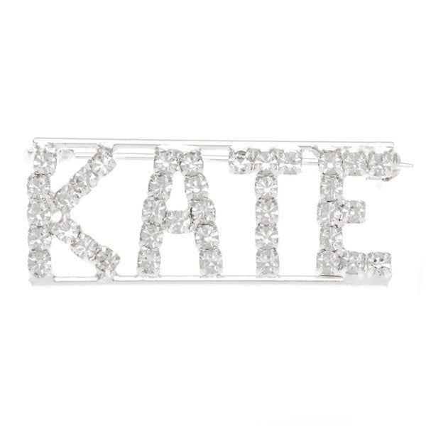Detti Originals Silver 'K Collection' Crystal Name Pin