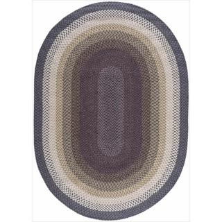 Hand-woven Craftworks Braided Violet Multicolor Oval Rug (7'6 x 9'6)