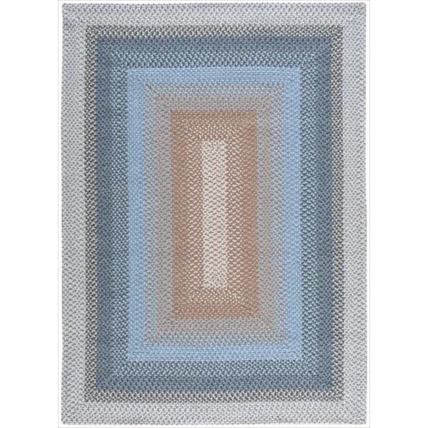 Hand-woven Craftworks Braided Blue Multicolor Rug - 7'6 x 9'6