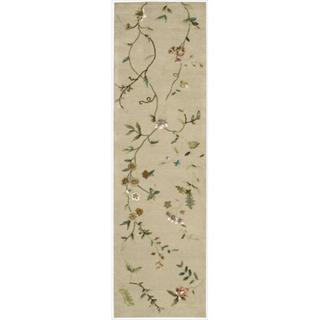 Hand-tufted Modern Elegance Floral Beige Wool Runner Rug (2'3 x 8')