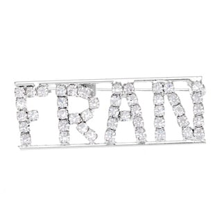 Detti Originals Silver 'FRAN' Crystal Name Pin