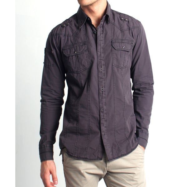 191 Unlimited Men's Slim Fit Stud Embellished Shirt