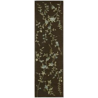 Hand-tufted Modern Elegance Floral Brown Wool Runner Rug (2'3 x 8')
