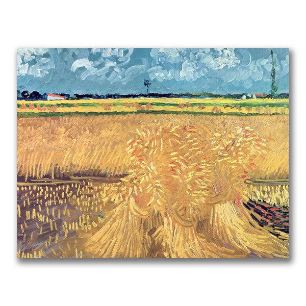 Vincent Van Gogh 'Wheatfield with Sheaves 1888' Canvas Art