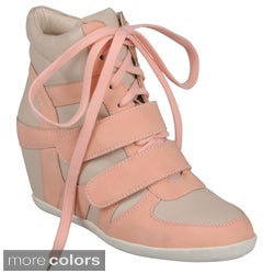 Journee Collection Women's ' Alana-9' Faux-Leather Lace-Up Wedge High-Top Sneakers