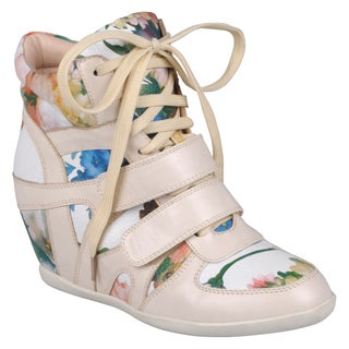 Journee Collection Women's ' Alana-9' Floral Lace-Up Wedge High-Top Sneakers