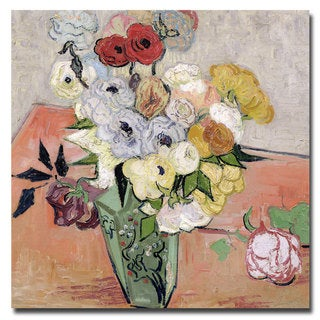 Vincent van Gogh 'Roses and Anemones, 1890' Canvas Art