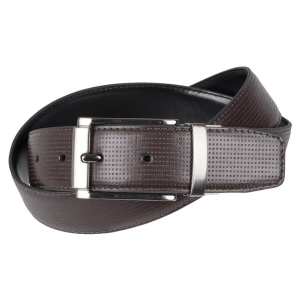 Joseph Abboud Men's Textured Reversible Leather Belt