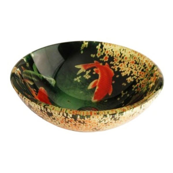 Koi and Lily Pond Green Tempered Glass Vessel Bathroom Lavatory Sink