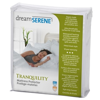 DreamSerene Tranquility Hypoallergenic Waterproof Mattress Protector - White