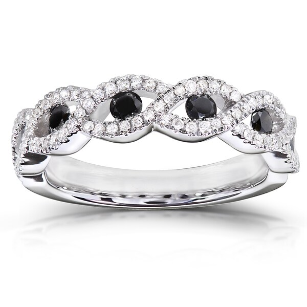 Annello by Kobelli 10k Gold 1/2 ct TDW Black and White Round Diamond Ring (H-I, I1-I2)