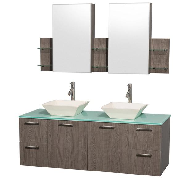Wyndham Collection 'Amare' 60-inch Grey Oak/ Green Top/ Bone Sink Vanity Set