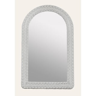 White Wicker Round Top Dresser Mirror
