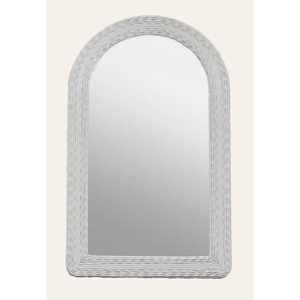 White Wicker Round Top Dresser Mirror Free Shipping