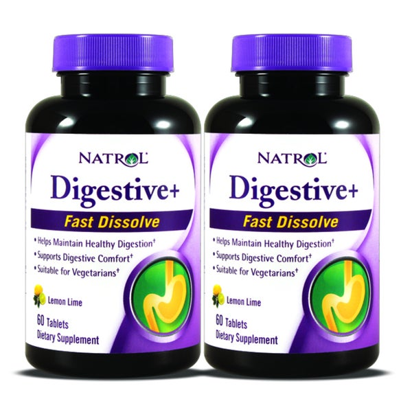 Natrol Digestive+ Fast Dissolve Tablets (60 Count) (Pack of 2)