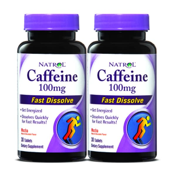 Natrol Caffeine 100mg Fast Dissolve Tablets (60 Count) (Pack of 2)