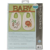Kimba 9x14 Stamped Cross Stitch Baby Bibs Kit (Set of 2)