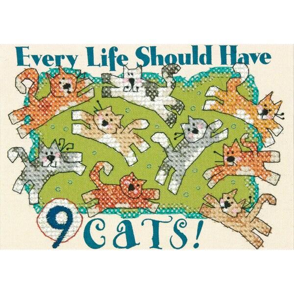 """Nine Cats Mini Stamped Cross Stitch Kit-7""""X5"""""""