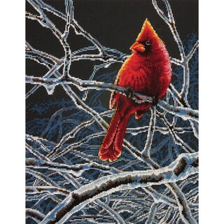"Ice Cardinal Counted Cross Stitch Kit-11""X14"""