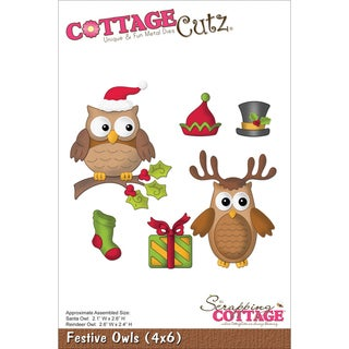 "CottageCutz Die 4""X6""-Festive Owls"