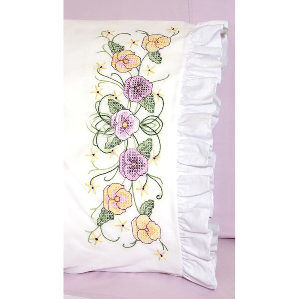 "Stamped Lace Edge Pillowcase 30""X20"" 2/Pkg-Pansy"