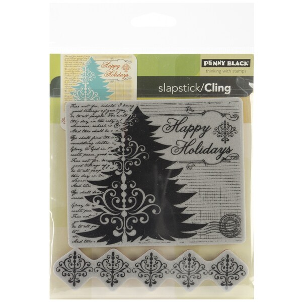 "Penny Black Cling Rubber Stamp 5""X6""-Holiday Collage"