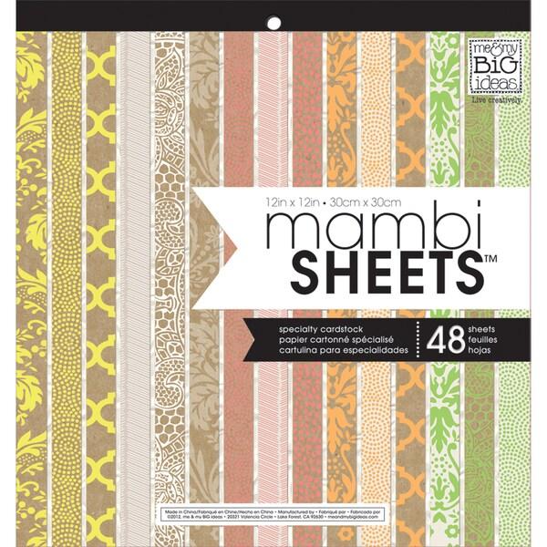"MAMBI Sheets Specialty Cardstock 12""X12"" 48/Sheets-Neon & Kraft"