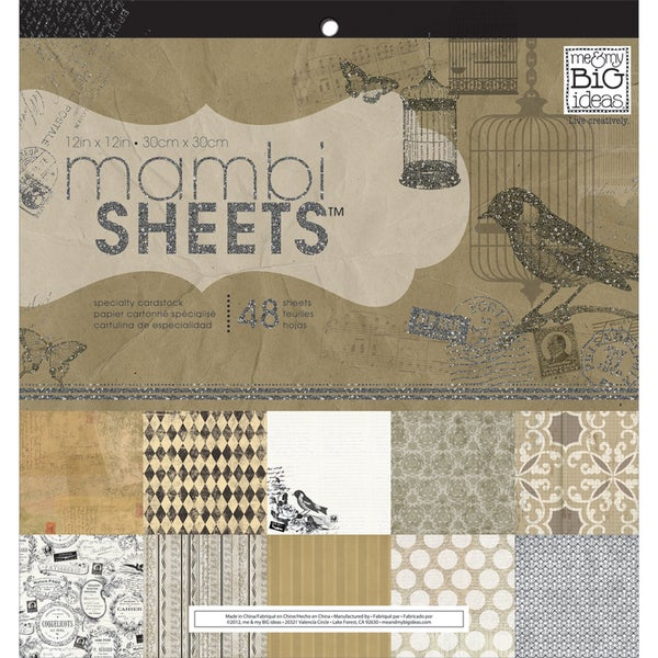 "MAMBI Sheets Specialty Cardstock 12""X12"" 48/Sheets-Birdcage Vintage"