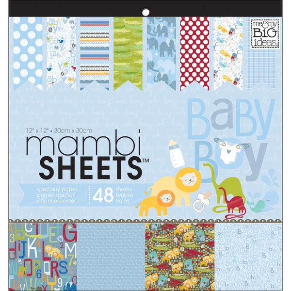 """MAMBI Sheets Specialty Cardstock 12""""X12"""" 48/Sheets-Oh Baby Boy"""