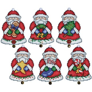 Santa Ornaments Plastic Canvas Kit-3X4in Set Of 6